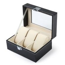3 Grids Black Leather Watch Box Jewelry Display Box Transparent Skylighty Watch Box