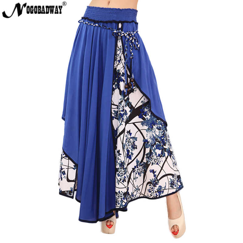 d9cc5c3659 High waist patchwork long skirt 2018 summer flower print asymmetric maxi  skirts womens blue vintage casual