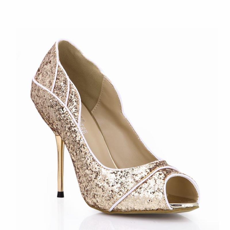ФОТО Sexy Women Shoes Woman Zapatos Mujer Tacon Tenis Sapato Feminino High Heels Peep Toe Sequins Pumps Party Wedding Ladies Shoes