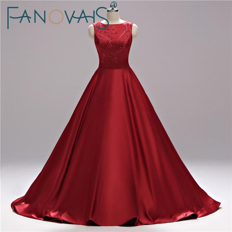 Abiti da ballo in raso 2019 Abiti da sera Robe de soiree Perline di cristallo Vestido de festa Abito viola per abiti da sera da sera