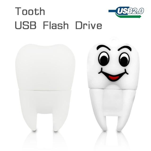 Cute usb flash drive tooth pen drive 64gb 32gb 16gb pendrive 8gb memoria usb stick 4gb usb2.0 memory stick Flash Drive cartoon
