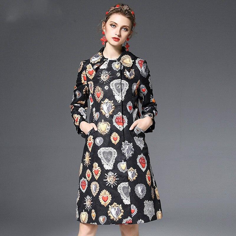 Manteaux Haute Manteau Europe 2017 Tranchée Hiver Femmes Survêtement Noir Piste Moyen Longues Automne Manches Vintage long Nouvelle Qualité qqUT7