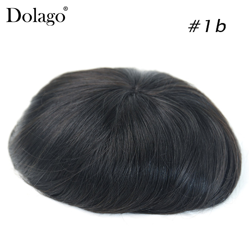 Fine Mono 6x8 Durable Hairpieces Lace Thin PU Replacement System For Men Toupees Human Hair Dolago Remy
