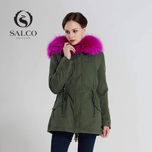 The latest 2016 ms high-end leisure raccoon sweater collar rabbit gallbladder long hooded coat coat inside
