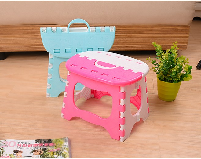 Blue Pink Plastic Folding Stool Para Children Thick Ottoman Home Furniture For Kid Child Sitting Dinner Picnic Stools