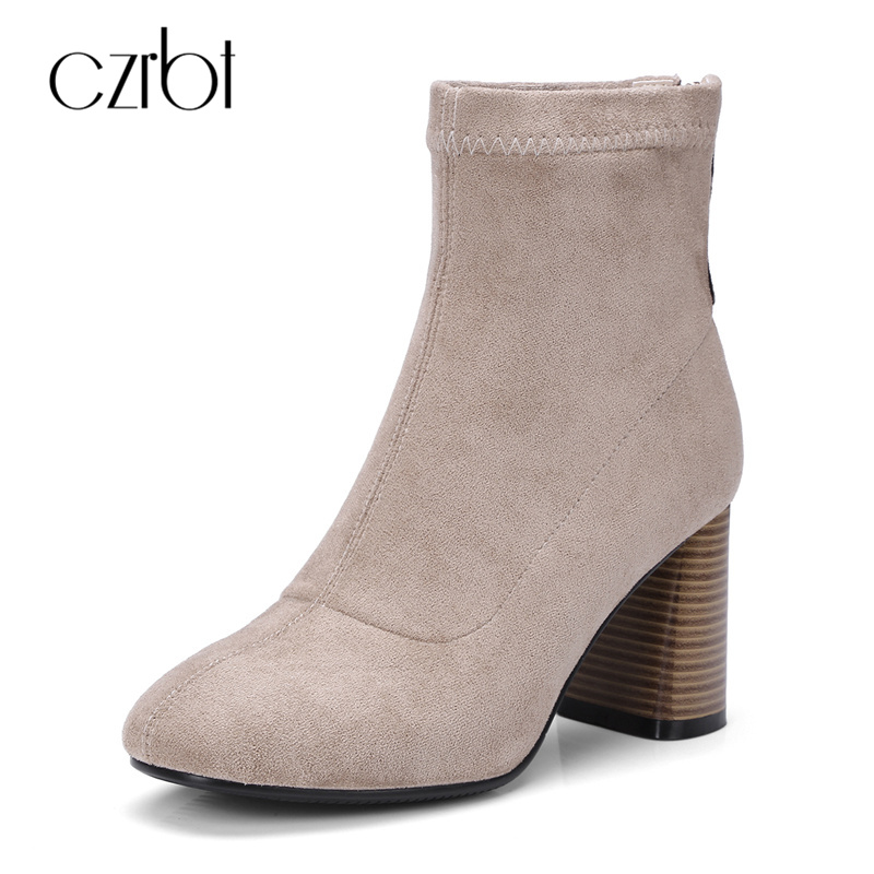 CZRBT Top Quality Brand Handmade Stretch Fabric Spring Autumn Winter Women Chelsea Boots High Heels 7cm Ladies Ankle Party Boots