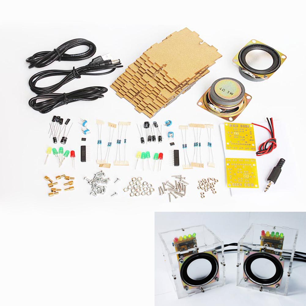 diy speaker kit sets with case 3Wx2 Amplifier speaker Electronic DIY training welding assembly parts(China)