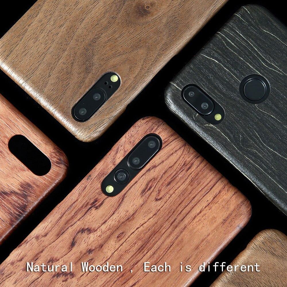 Naturel En Bois cas de téléphone POUR Huawei P20 & P20 PRO/P20PRO & P20 LITE/NOVA3E cas couverture Noyer /palissandre/Noir glace bois/shell