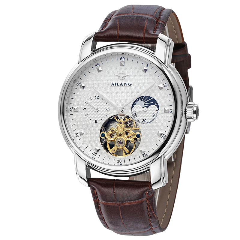AILANG 6822 Switzerland watches men luxury brand Moon phase Casual Wrist watch Leather Tourbillon Watch Relogio Masculino ailang 8221a switzerland watches men luxury brand automatic double tourbillon moon phase hollow business watch relogio masculino