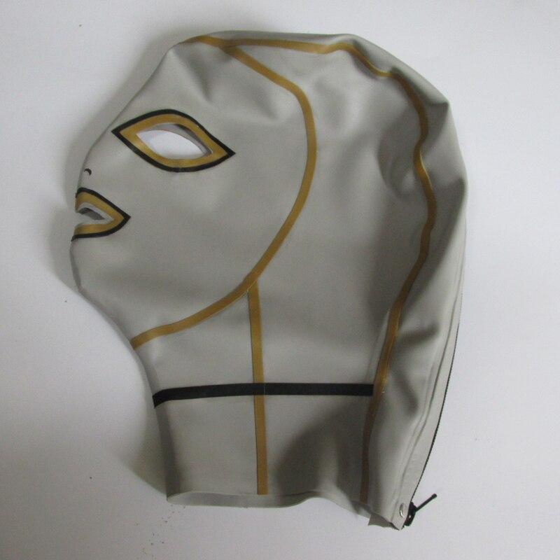 0.4mm latekshõbedane unisexi seksikas tihe mask lateksist - Kostüümid - Foto 3