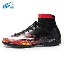 77ca7b863c486 ZHENZU hombres fútbol botas TF alto tobillo Superfly zapatos de fútbol de  césped calcetín barato Cleats niños Futsal entrenamien.