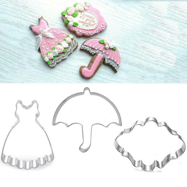 3pcs Patisserie Reposteria Cookie Cutters Princess Dress Umbrella Fondant Cake Decor Tool Pastry Cupcake Paste Biscuit Mold