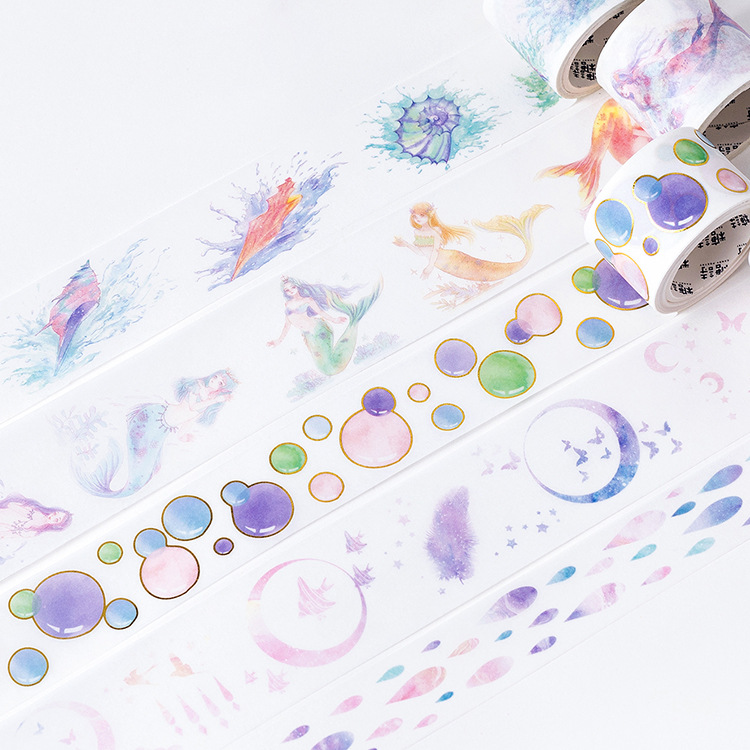 Mermaid Bubble Gilding Raindrop Washi Tape Adhesive Tape DIY Scrapbooking Sticker Label Craft Masking Tape mermaid bubble gilding raindrop washi tape adhesive tape diy scrapbooking sticker label craft masking tape