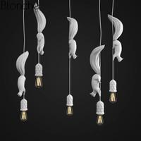 Nordic смолы Белка светодио дный подвесные светильники современные промышленные подвесные лампы животных для Детская комната Кухня Лофт Деко