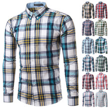 f9bd6d36d43 Men Plaid Shirt Long Sleeve Spring Shirt Brand Mens Checkered Shirt Cotton Mens  Casual Shirts 2017