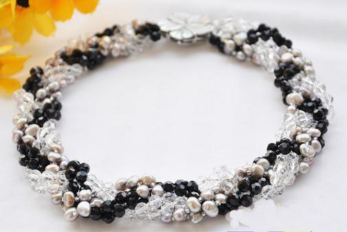 Wholesale Handwork Pearl Jewellery,6Rows 18inches Gray Baroque Pearls Clean Black Crystal Faceted Knit Necklace pearls beaded cable knit jumper