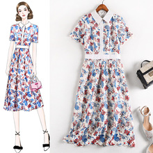 Summer Dress 5XL plus Size Womens Short Sleeve Slim White Collar  Flower Embroidery Vestidos Water Soluble Lace Elegant