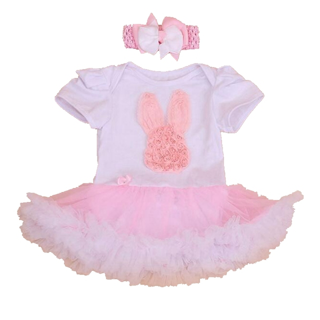d6a1ed14e Cute Bunny Summer Baby Girl Outfits Roupa Infantil Lace Ruffle Romper Dress  Headband New Born Kids