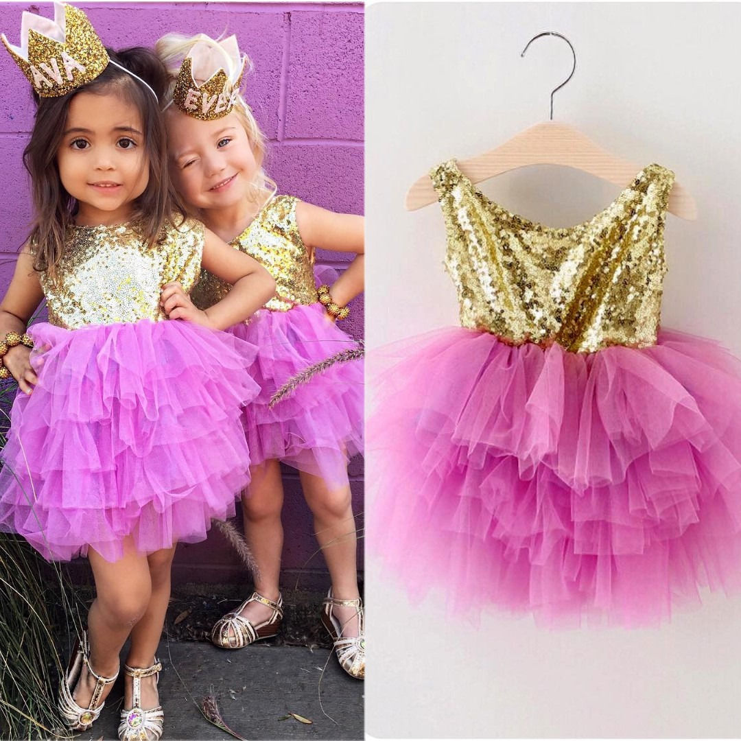Sequin Toddler Infant Kids Girls Clothes Princess Dresses Ruffles Formal Pageant Layered Tulle Party Dress 2-7Y