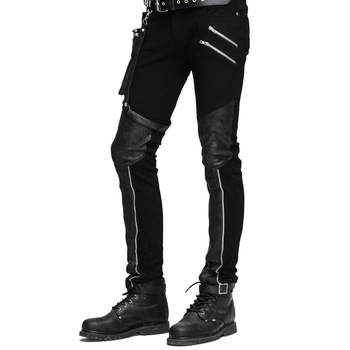 Steampunk Winter Men Long Jean Pants Gothic High Waist Mens Pants Trousers Black Brown Tights Slimming Streetwear For Male 2