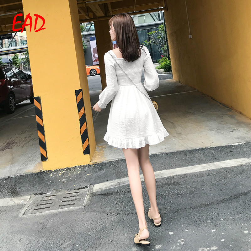 EAD Vintage Single Breasted Pleated Office Lady Shirt Dress Women Spring Sexy V Neck Ruffle Elegant Dresses Female Vestido