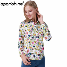 SPARSHINE Floral Long Sleeve Vintage Blouse Printed Turn Down Collar Shirt Female Blusas Feminina Ladies Blouses Womens Tops 5XL