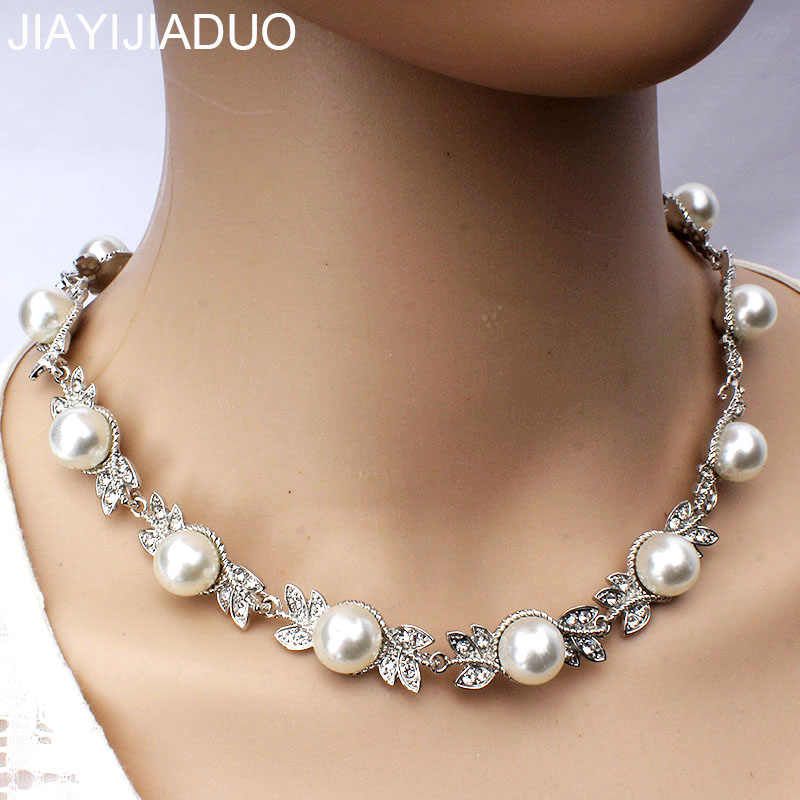 jiayijiaduo  Wedding Jewelry Necklace for Women Fashion Imitation Pearl Round Necklace Jewelry Silver Color Crystal Necklace
