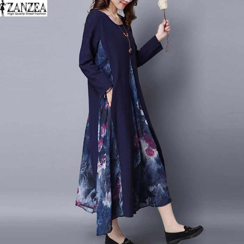 60f5393126 ... 2019 ZANZEA Fashion Women Summer Dress Long Sleeve Loose O-Neck Party  Shirt Dress Vintage ...