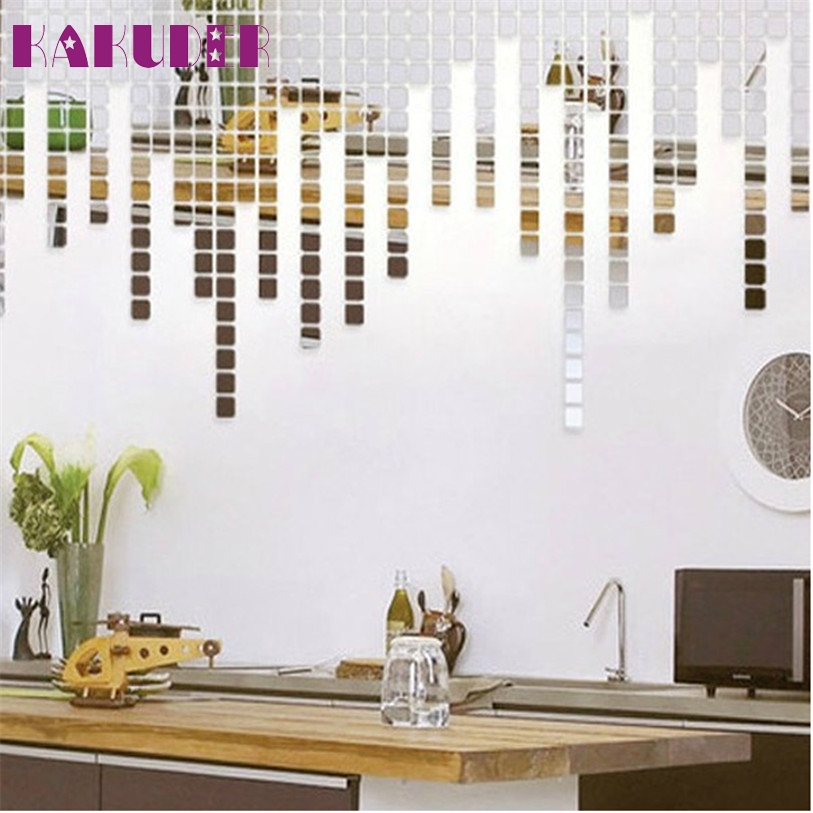 100 Pieces 1MM thick plastic Mirror Tile Wall Sticker 3D Decal Mosaic Room Decor Stick On Modern feb16