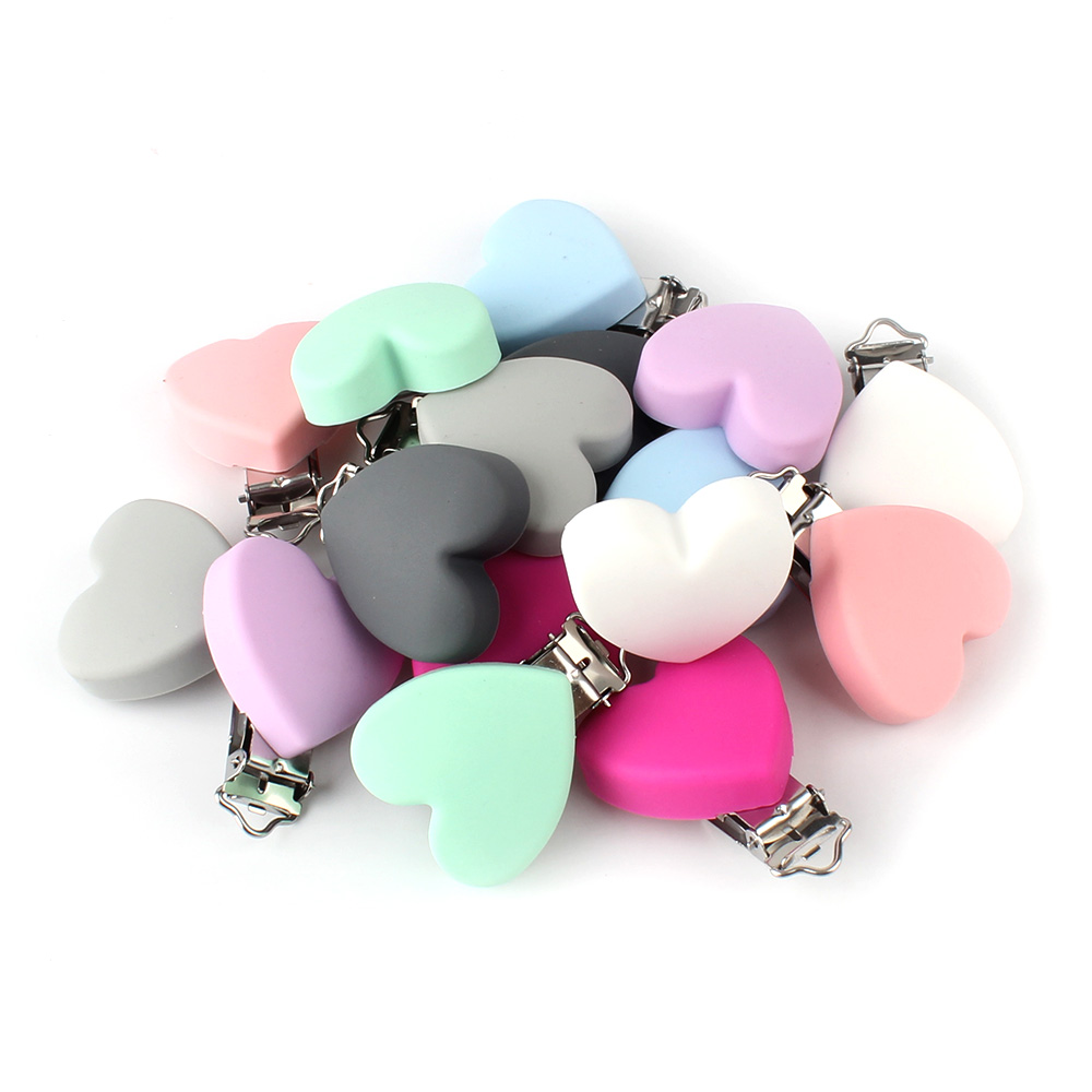 50pcs 50mm Heart Silicone teether metal Clip Pacifier silicone rodent DIY Baby Teether Necklace Pendant Clamp