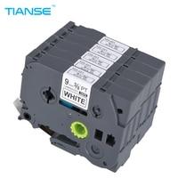 TIANSE 5pcs TZe 221 9mm Black On White TZe221 TZ221 TZe 221 TZ Tape For Brother