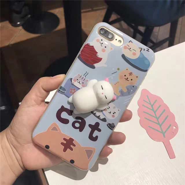 3043fb8ca3 Squishy Mobile Phone Cases 3D Cute Phone Cover for iPhone 6s 6 6 Plus 7 7  Plus Case Marshmallow Soft Silicone Gel Shell Fundas