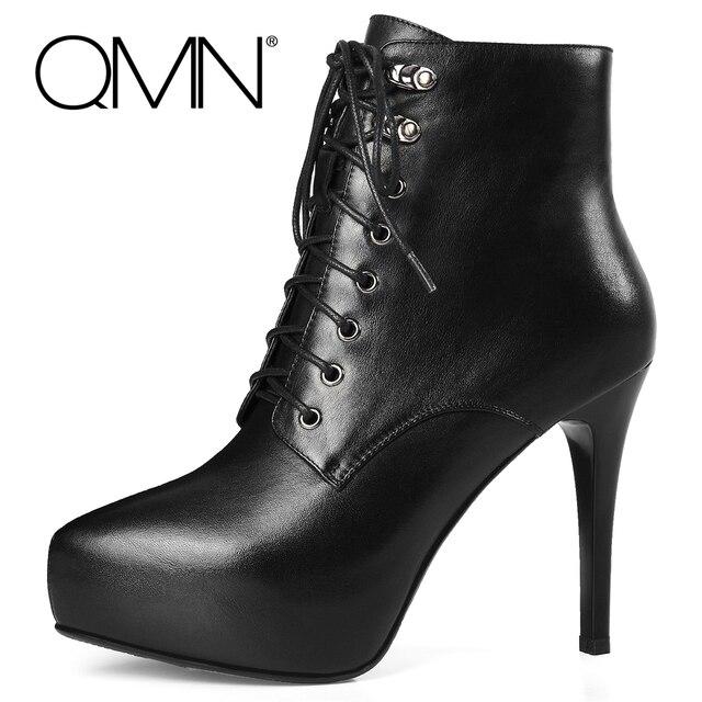 QMN женщины неподдельной кожи ботильоны Женские Платформа Зашнуровать Сексуальные Сапоги Мода Молнии Обувь Женщина Черный Bootie Botas