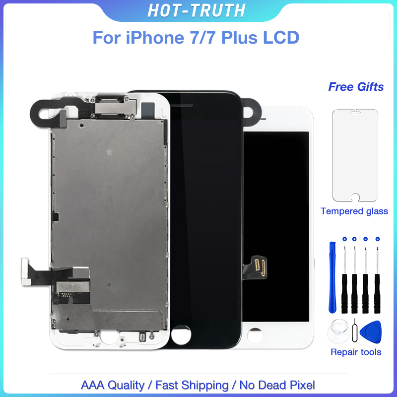 1Pcs No Dead Pixel 3D Touch LCD For iPhone 7 7 Plus Display Digitizer Assembly Replacement Parts + Front Facing Camera+ Speaker
