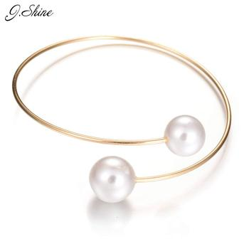 New Fashion Women Jewelry Double Simulated Pearl Ball Beads Gold Silver Plated Open Cuff Bracelets Slim Adjustable Bangels Women