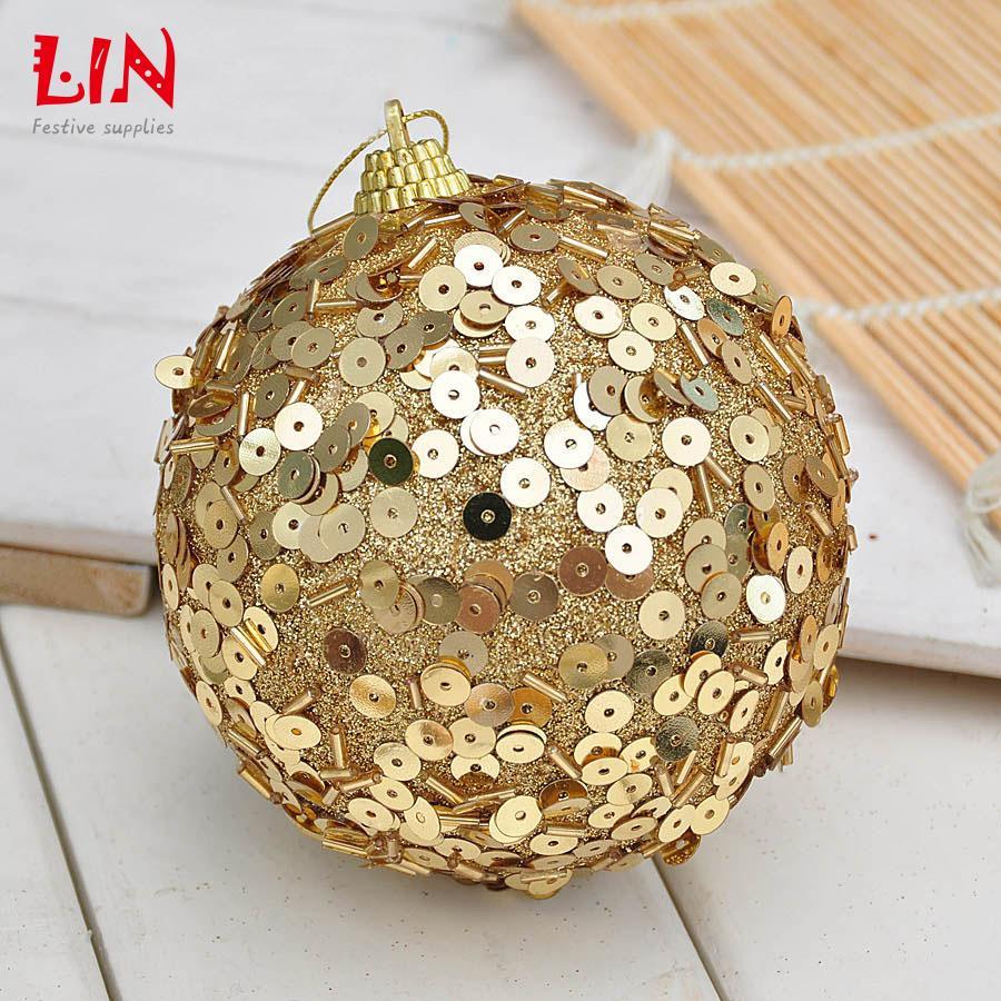 Christmas ornaments sequins decorative foam 10cm gold ...
