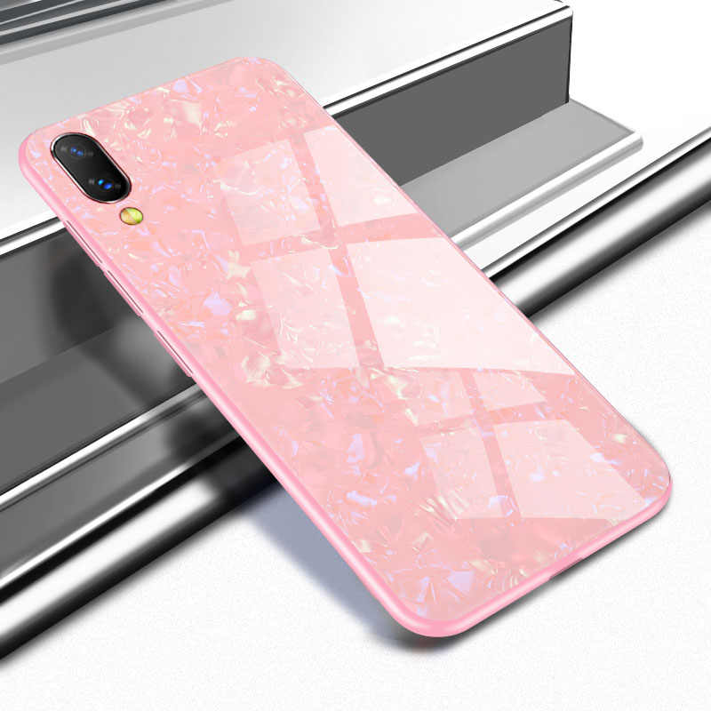 online store 6a4cd 6a554 For Vivo V11 / V11 Pro Casing Marble Tempered Glass Back Smooth Phone Cover  For Vivo V11 / Vivo 1804 Mobile Phone Cases - 6.41