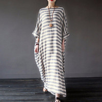 Women Striped Print Dress Autumn Casual Loose O Neck Elegant 3 4 Batwing Sleeve Maxi Long