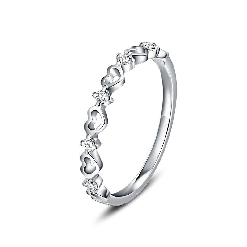 ANI 18K White Gold (AU750) Wedding Ring Round Certified I/SI Real Natural Diamond Rings Heart Pledge Gift for Women EngagementANI 18K White Gold (AU750) Wedding Ring Round Certified I/SI Real Natural Diamond Rings Heart Pledge Gift for Women Engagement