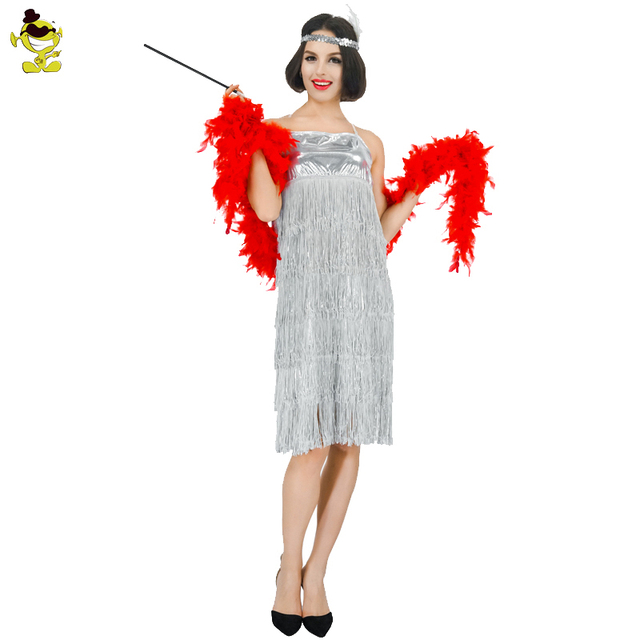 Womens Gray Sequin Flapper Dress Costume adult 1920 s fancy dress Cosplay  Party Costumes 8d0358ad1871