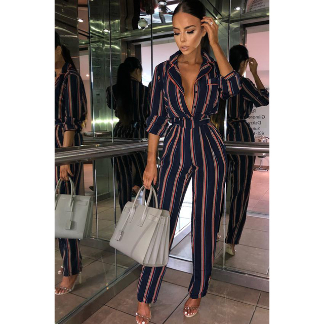 Fashion striped printed jumpsuits for women 2018 Half sleeve turn down collar long rompers womens jumpsuit Autumn new overalls 2