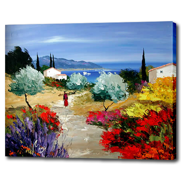 Country road path landscape oil painting modern natural - Landscape paintings for living room ...