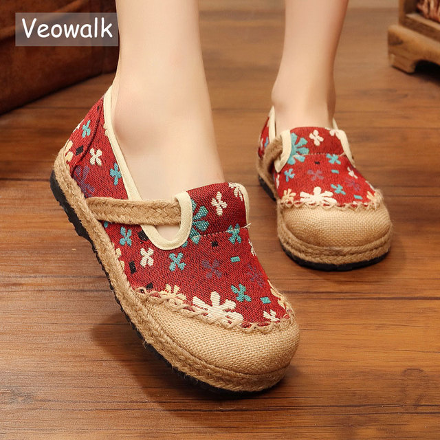 Veowalk Slowflake Embroidered Women Linen Cotton Espadrilles Loafers Slip-on  Comfort Casual Flat Platforms Shoes Zapatos Mujer 828380a92336