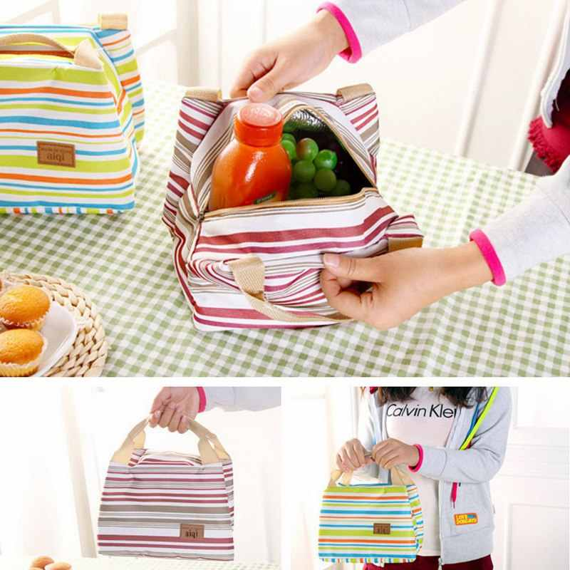 a1536910f5 ... Fashionable Striped Handbags Custom Made Large Capacity Canvas Home Storage  Lunch Bags Waterproof Bag Multifunctional ...