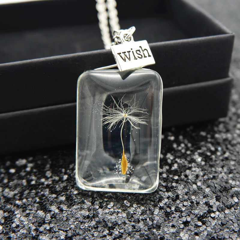 Glass bottle Necklace Natural dandelion Seed In Glass Long Necklace Make A Wish Glass Bead Orb  jewelry