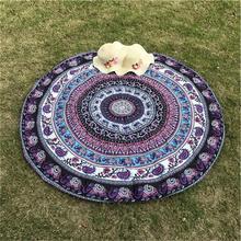 Elefante indio Tipo Redondo Scarve Moda Mandala Tapiz Playa Estera alfombra de Picnic Manta de Poliéster Alfombra de Césped Playa Tippet
