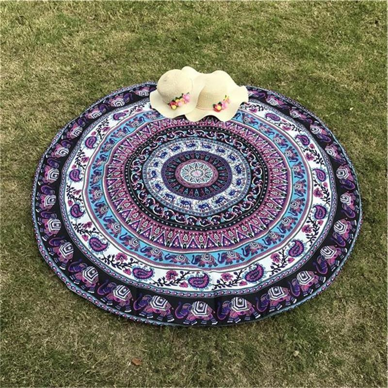 Indian Elephant Type Round Scarve Fashion Mandala Tapestry Beach Mat Picnic Rug Blanket Polyester Lawn Mat Beach Tippet(China)