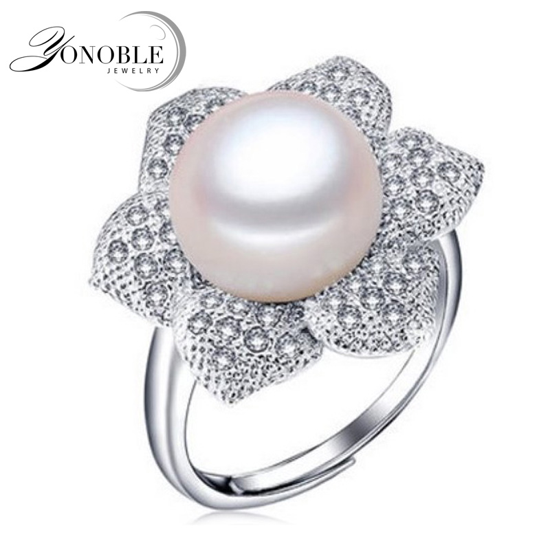 YouNoble Real Freshwater Pearl Rings For Women,white Big Natural Pearl Ring 925 Sterling Silver Pearl Jewelry Birthday Gift