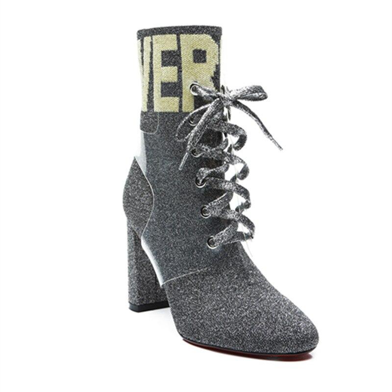 Super Vert Chaussures Bottes Solide Top Lacent As Pic Chaud Sruare Soie as Haute Pic Noir Cheville Femmes Automne Alphabet Équestre Talon Qualité c3lF1KJT