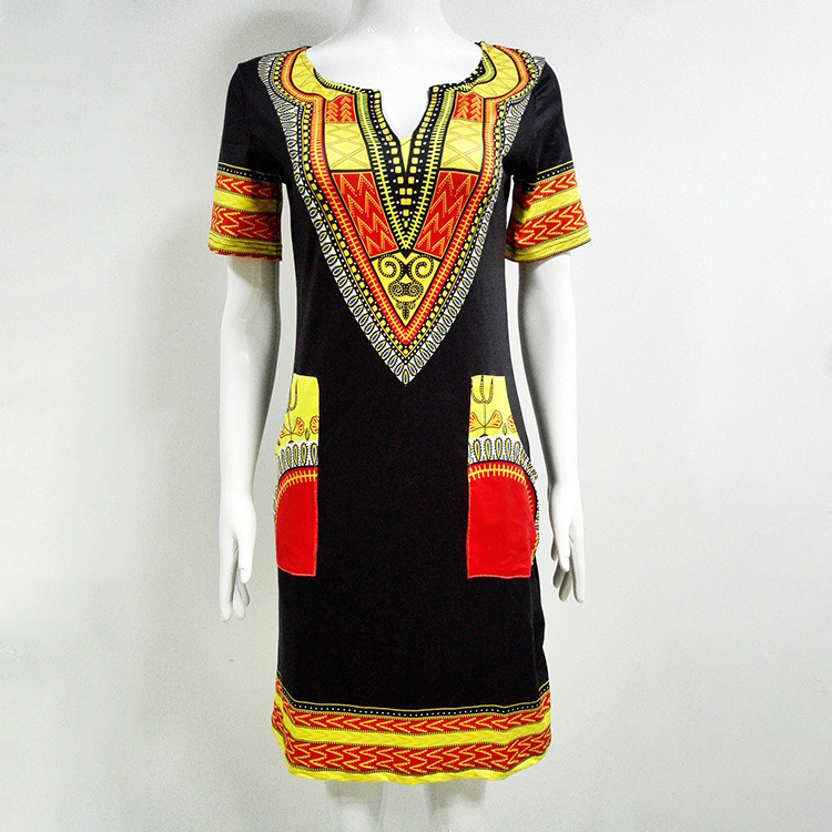 5b8af5a6fd4 Dashiki dress 2018 Summer Sexy African Print Pocket Shirt Dresses Femme  Vintage Mini hippie Plus Size Boho Women Casual Clothing-in Dresses from  Women s ...